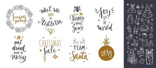 Vector hand drawn Lettering with Christmas Doodle collection