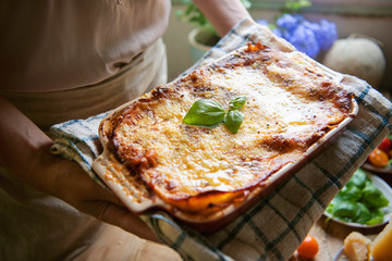 Homemade lasagna food photography recipe idea