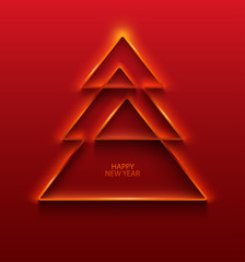 Stylized Christmas tree. Red greeting card.