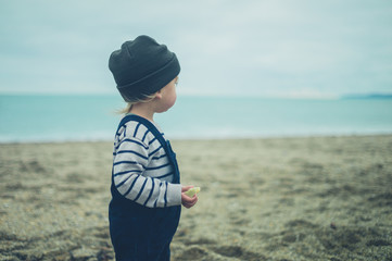 Toddler standing on the beach in autumn