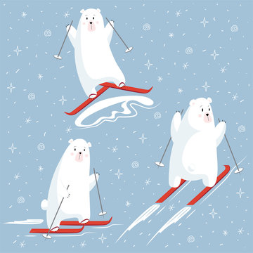 Set of polar bear characters on a skiing