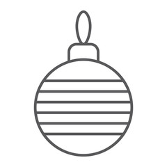 Christmas tree ball thin line icon, xmas and decoration, bauble sign, vector graphics, a linear pattern