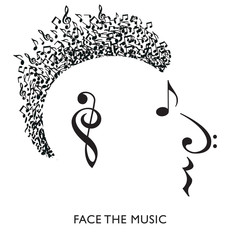 A creative musical face in profile made with musical notation symbols