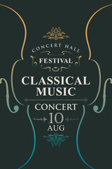 Vector poster for a concert or festival of classical music in vintage style with violins on the black background