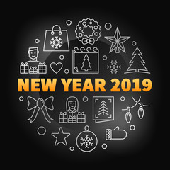 New Year 2019 round vector creative illustration in line style