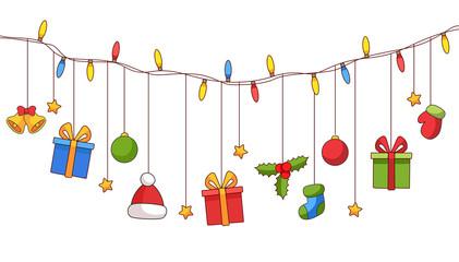 Wall Mural - Lichterkette Geschenke Weihnachten