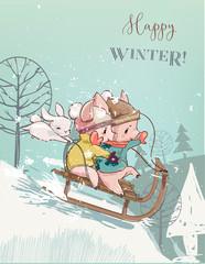 Cute pigs on sleigh
