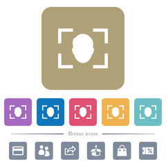 Camera selfie mode flat icons on color rounded square backgrounds