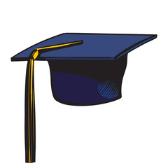 Graduation cap with yellow tassel. Sketch of black academic hat isolated on white background. Hand drawn vector.