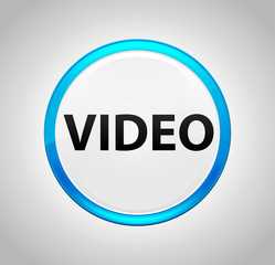 Video Round Blue Push Button