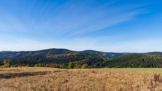 National Park Harz mountains aerial view in Sankt Andreasberg, Lower Saxony, Germany