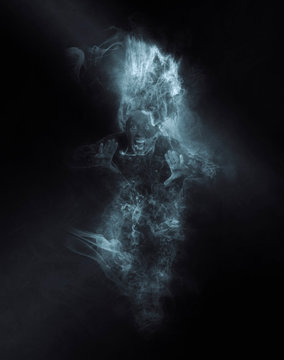 Terrible ghost on dark smoke
