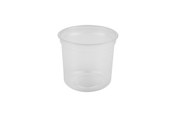 small white transparent plastic glass for drinks, on a white background, isolate