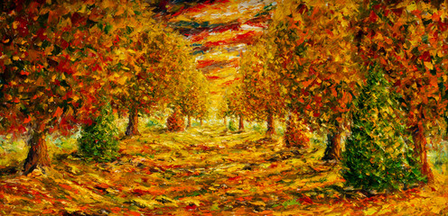 colorful yellow orange red impressionism autumn oil painting fragment