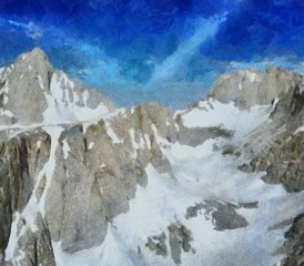 Hand drawing watercolor art on canvas. Artistic big print. Original modern painting. Acrylic dry brush background. Beautiful snowing mountain travel landscape. Winter wild nature view. Skiing resort