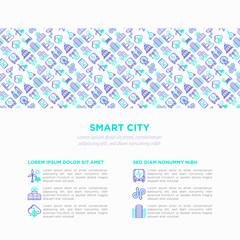 Smart city concept with  thin line icons: green energy, intelligent urbanism, efficient mobility, zero emission, electric transport, balanced traffic. Vector illustration, print media template.