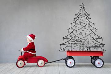 Happy child having fun on Christmas time