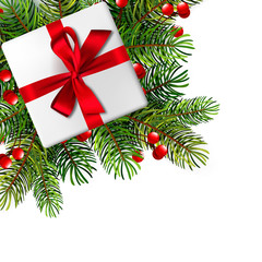 Christmas illustration with realistic fir branches. Vector illustration