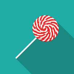 Red and white swirl lollipop icon with long shadow. Christmas, new year, winter holidays card, poster, banner, clothes print. Vector illustration, flat design style sweet on turquoise background.