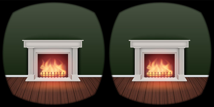 The concept of VR technology of choose furniture arrangement for interior. Use vr glasses to creating perfect housing. Imitation of the inside VR glasses view at fireplace. Editable Vector