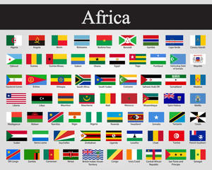 All flags of Africa. Vector illustration. World flags