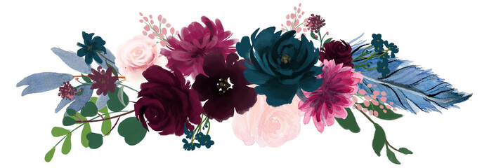Watercolor vintage floral composition Pink and blue Floral Bouquet Flowers and Feathers Isolated Wall mural