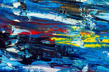 Palette knife abstract macro texture blue orange red water,sea, sky oil painting close-up background. Hand drawn artwork. Color clouds texture. Fragment of artwork. Brushstrokes of paint. Modern art.