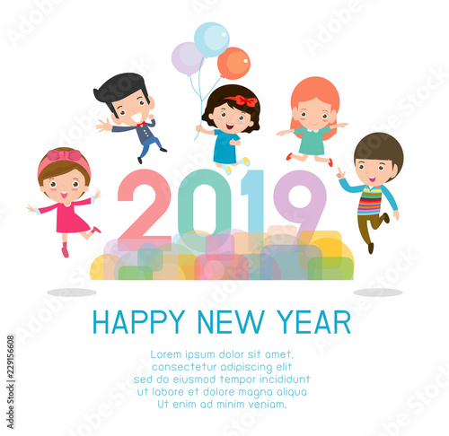 2019 happy new year design card with kids on background happy child with happy new