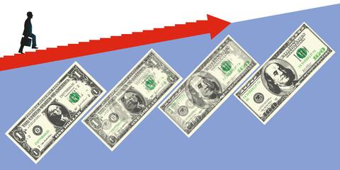 Concept de la réussite avec le développement du business, symbolisé par un billet de 1 dollar se transformant en billet de 100 dollars.