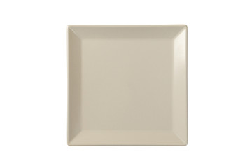 Empty square matte plate, isolated on white background, top view