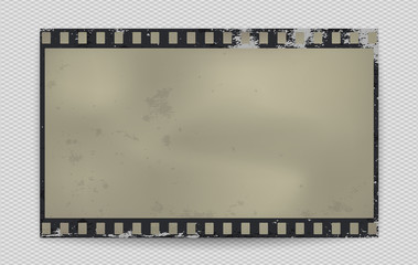 Grunge stained film strip with shadow on squared background. Vector illustration