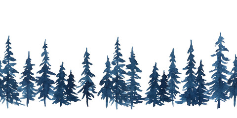 Watercolor indigo blue pine trees. Christmas and New Year seamless pattern