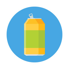 Lemonade in aluminum can flat icon solated on blue background. Simple opened soda can in flat style, vector illustration.