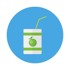 Pack with juice and straw in flat style isolated on blue background. Apple Juice vector illustration for web and mobile design.