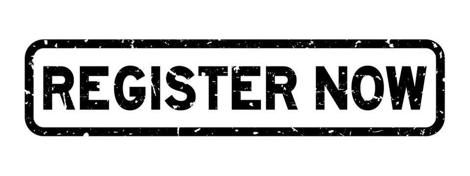 Grunge black register now word rubber seal stamp on white background