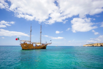 Pirates boat for tourists sailing along Algarvian shore, Portugal