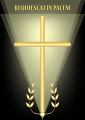 Funeral decoration with simple golden cross and laurel branches, luxurious burial decoration on black background with blurry light, inscription Requiescat in pacem - Rest in peace, vector illustration