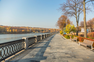 Canvas Prints Train Station Autumn nature on the waterfront. Moscow. October