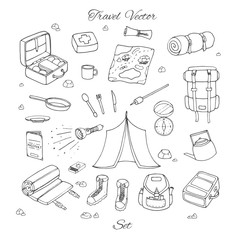 Hand drawn vector camping set with tent, flashlight, map, first aid kit, bags, backpacks and sleeping bag outline. Travel contours collection isolated on the white background.