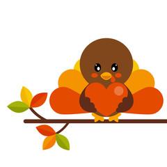 cartoon cute turkey with heart vector on a branch