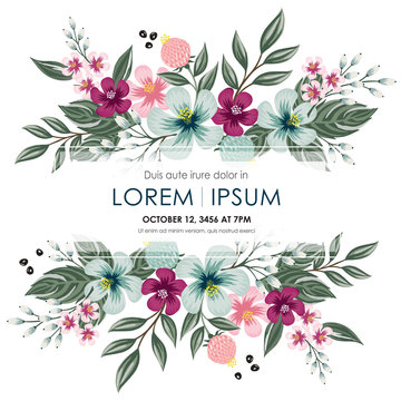 Vector illustration of a floral frame in spring for Wedding, anniversary, birthday and party. Design for banner, poster, card, invitation and scrapbook