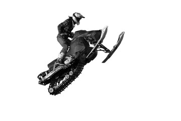 Freestyle motocross rider on snowmobile jump at fmx competitions (isolated on white background) Wall mural