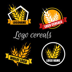 Set logo vector wheat factory or bakery. Circle white badge with gold ears on black background. Organic orange wheat. Flat design.