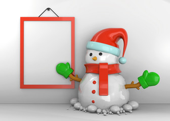Snowman in front of Wall - 3D