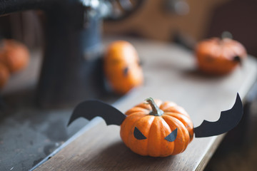 Fairy tale of Pumpkin with wings carved for the holiday of halloween