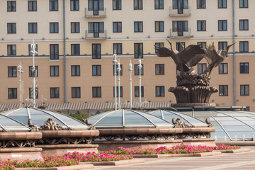 Independence square in Minsk. Famous Independence Square in the morning time.