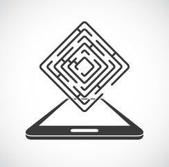 maze labyrinth with smartphone icon