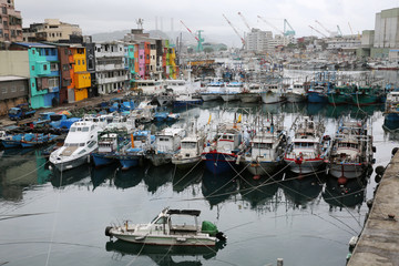 Fishing boats stationed, as they braced for super typhoon Maria in Keelung near Taipei