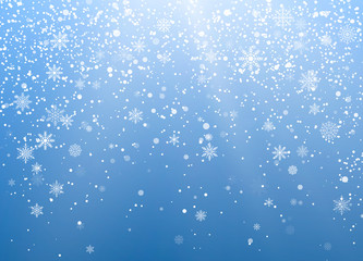 Seasonal Winter Holiday Background. Festiveal Snowfall on Blue Sky. White Snowflakes Fall. Frost Snow and Sunshine. Vector illustration
