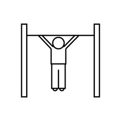 Fitness pull up line icon, fitness and sport, workout sign vector graphics, a linear pattern on a white background, eps 10.